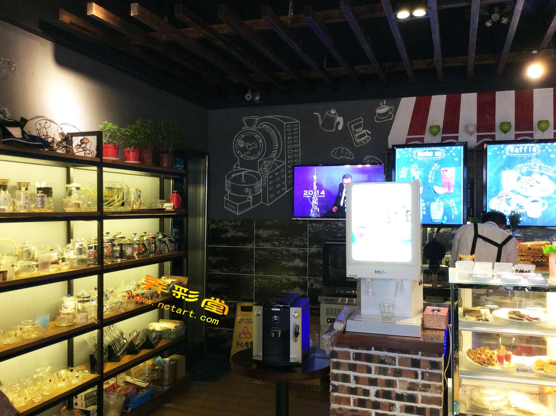 衡阳咖啡厅西餐厅手绘墙壁画案例---可卡咖啡墙体彩绘