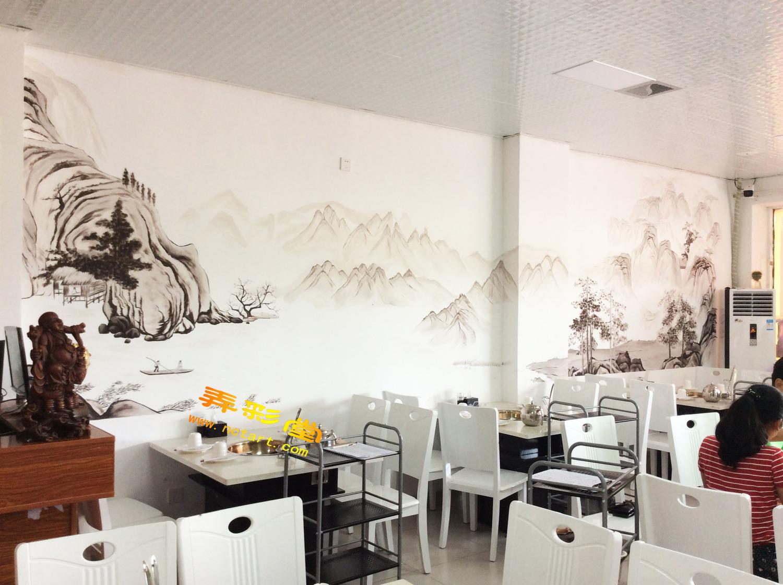 衡阳饭店餐馆墙绘壁画国画-冉冉鲜鱼坊手绘墙