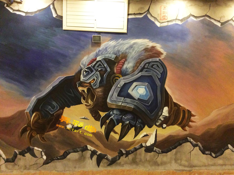 衡阳网咖3d立体画墙绘壁画绘制步骤---英雄联盟角色量