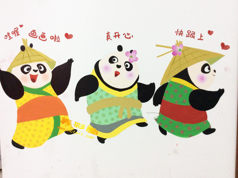 衡阳儿童美术画室幼儿园墙体彩绘--雨芯舞蹈学院儿童美术绘画班
